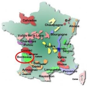 France - Bordeaux wines map
